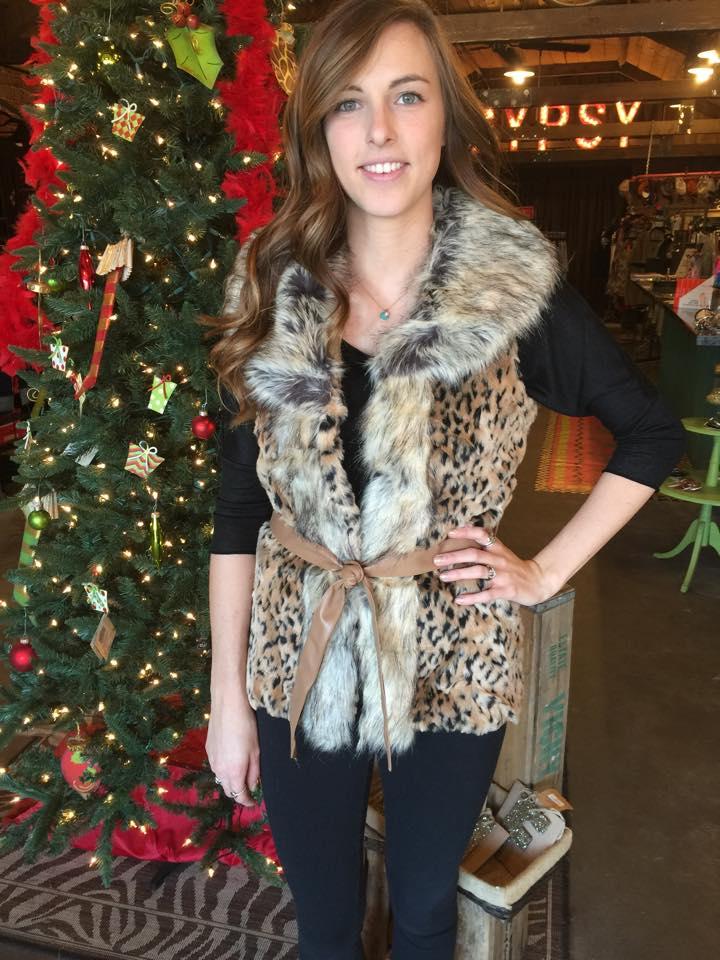 Leopard Furry Vest