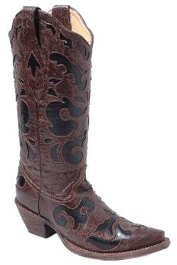 Chocolate and Black Inlay Corral Boot