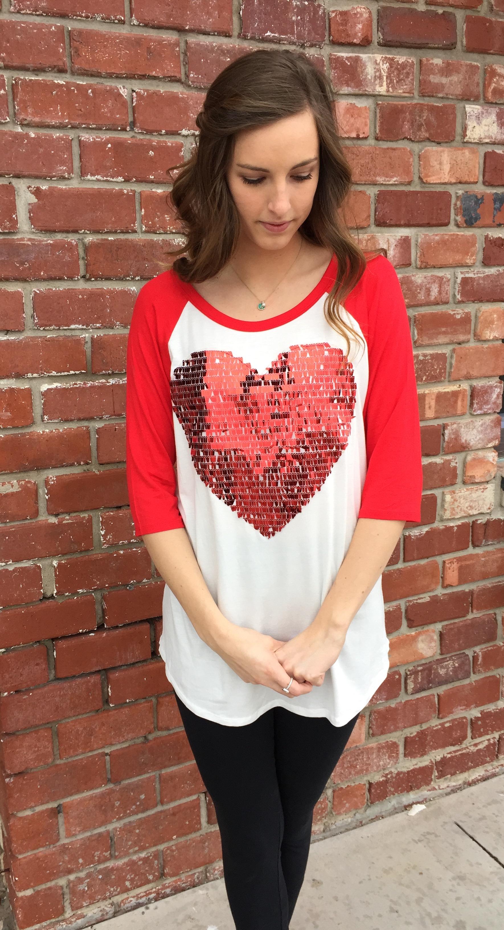 Sequin Heart Valentines Tee