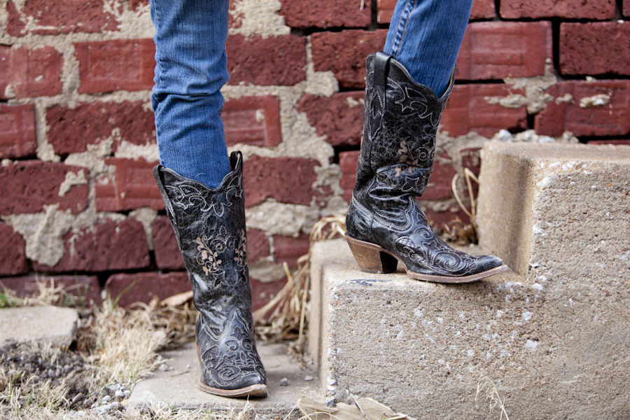 Black Inlay Corral Boot
